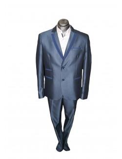 Esküvői slim fit fazonú öltöny-Kék Díszes gallérral