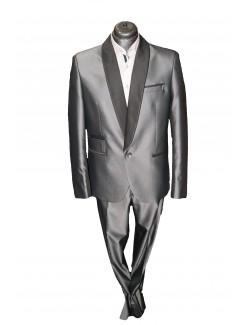 Esküvői slim fit fazonú öltöny-Szürke Szmoking
