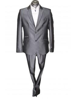 Slim karcsúsított fazonú öltöny-Szürke Fényes