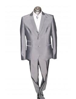 Slim karcsúsított fazonú öltöny-Világosszürke Fényes