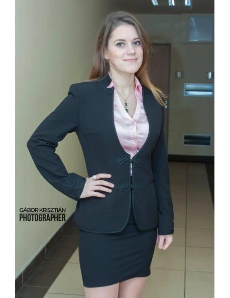 Kétrészes kosztüm bocskai díszítéssel-Fekete