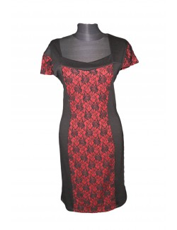 ZseZsu női egyrészes csipkés ruha-Fekete