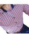 Heidekker Slim Fit Férfi ing-Piros-Kék kockás