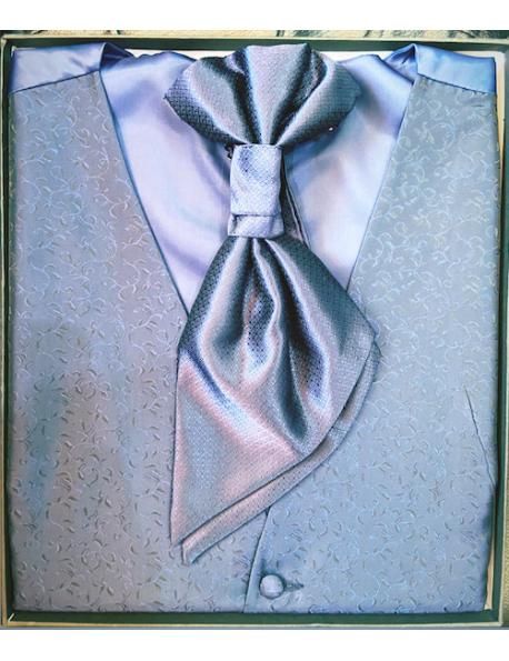 Ceremónia Férfi mellény szett-Kék mintás