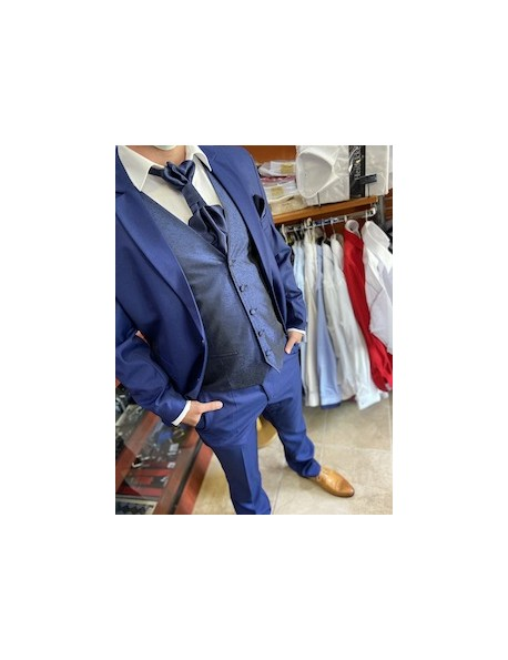 Esküvői slim fit fazonú öltöny szett-Kék
