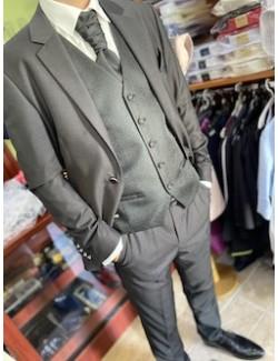 Esküvői slim fit fazonú öltöny szett-Fekete