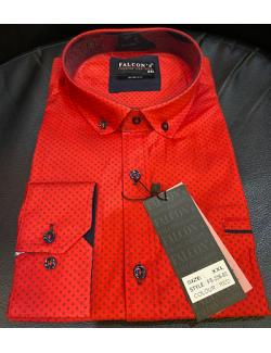 Falcon's Slim fit férfi ing- Piros mintás